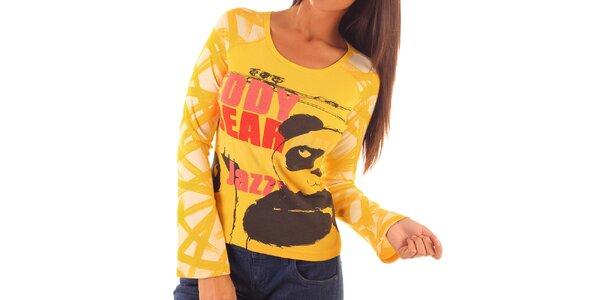 Dámske žlté tričko s potlačou pandy Custo Barcelona
