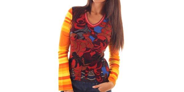 Dámske farebne vzorované tričko s dlhým rukávom Custo Barcelona