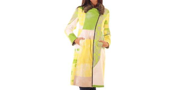 Dámsky farebný kabát s kožúškovým golierom Custo Barcelona