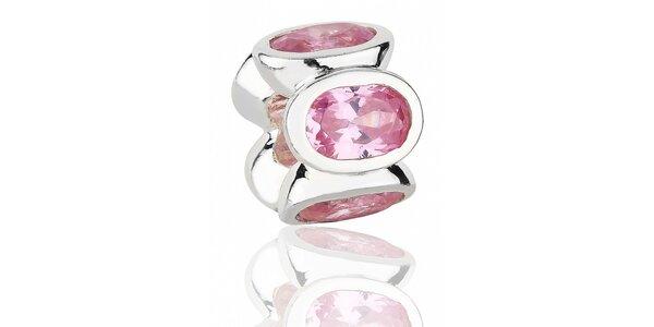 Strieborný prívesok Pandora s ružovými brúsenými kamienkami