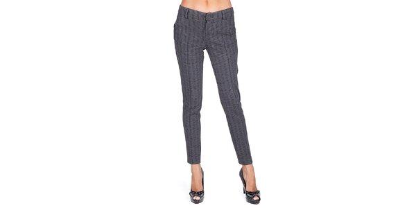 Dámske tmavo šedé vzorované nohavice Sixie