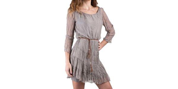 Dámske šedohnedé hodvábne šaty Keysha