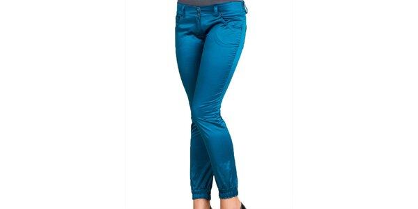 Dámske modré lesklé nohavice Keysha