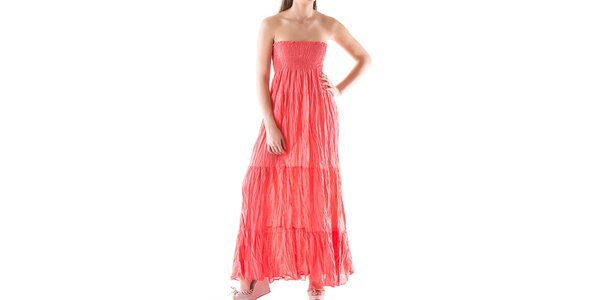 Dámske dlhé korálovo červené šaty Keysha