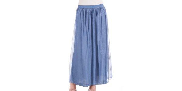 Dámska dlhá modrá hodvábna sukňa Keysha