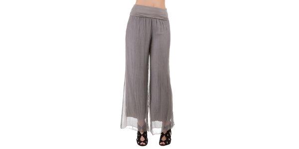 Dámske šedé hodvábne nohavice Keysha