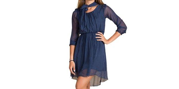 Dámske tmavo modré hodvábne šaty Keysha