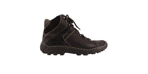Dámske čierne členkové topánky so zateplením Maxim