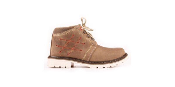 Dámske béžové členkové topánky so zateplením a prešívaním Maxim