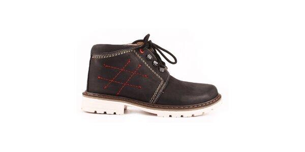 Dámske čierne členkové topánky so zateplením a prešívaním Maxim