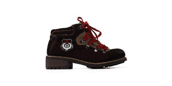 Dámske tmavo hnedé kožené topánky so šnúrkami Elite