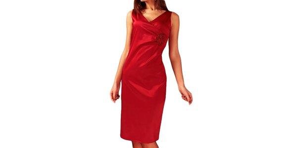 Dámske červené šaty s kvetinou Vera Fashion