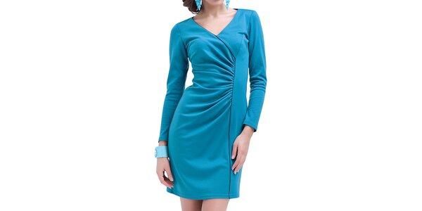 Dámske modré nariasené šaty s dlhým rukávom Vera Fashion