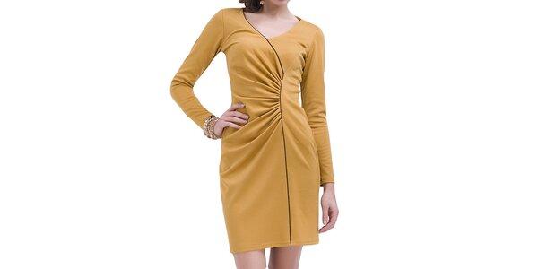 Dámske nariasené šaty s dlhým rukávom Vera Fashion