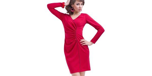 Dámske červené nariasené šaty s dlhým rukávom Vera Fashion