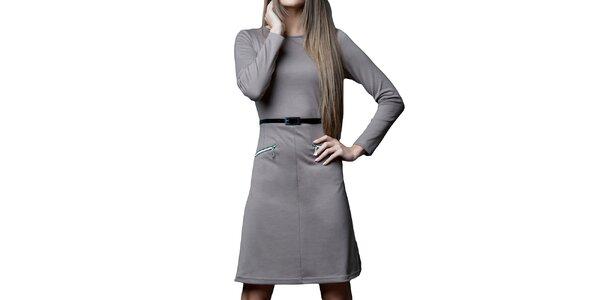 Dámske tmavo béžové šaty s opaskom a zipsami Vera Fashion