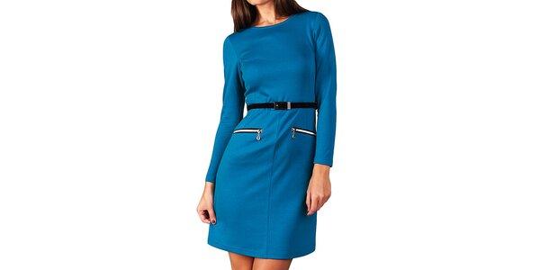 Dámske modré šaty s opaskom a zipsami Vera Fashion