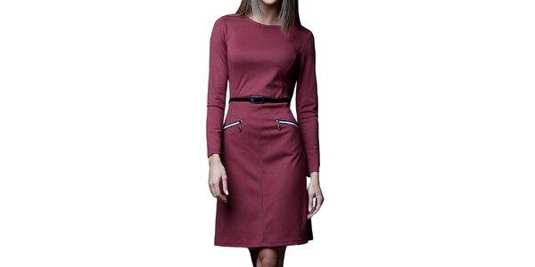 Dámske bordó šaty s opaskom a zipsami Vera Fashion