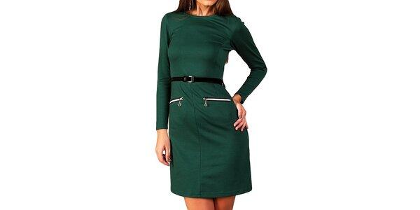Dámske tmavo zelené šaty s opaskom a zipsami Vera Fashion