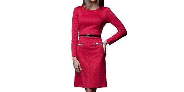 Dámske červené šaty s opaskom a zipsami Vera Fashion