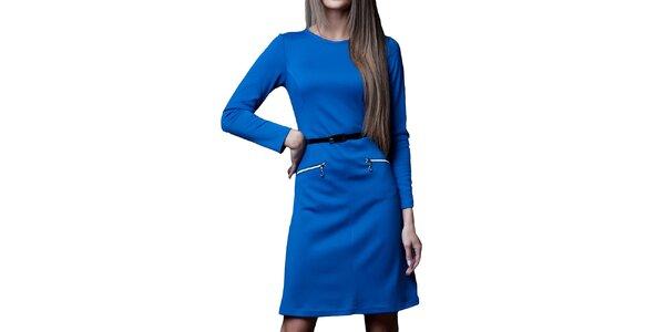 Dámske kráľovsky modré šaty s opaskom a zipsami Vera Fashion
