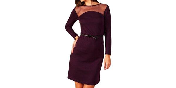Dámske fialové šaty s transparentným dekoltom Vera Fashion