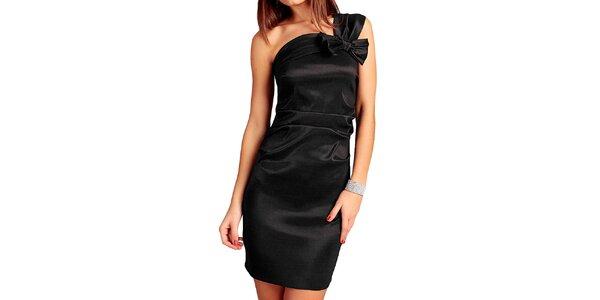 Dámske čierne šaty s mašľou Vera Fashion