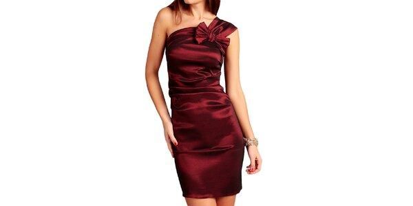 Dámske bordó šaty s mašľou Vera Fashion