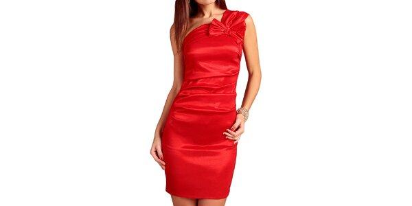 Dámske červené šaty s mašľou Vera Fashion