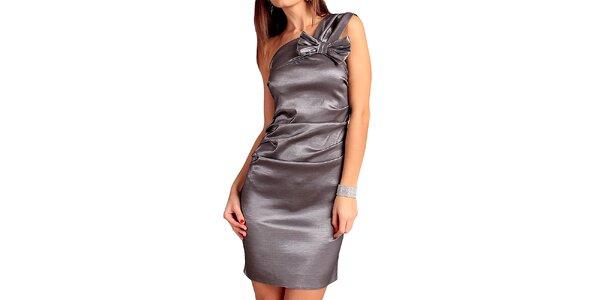 Dámske strieborné šaty s mašľou Vera Fashion