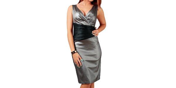 Dámske strieborné šaty s čiernymi prvkami v páse Vera Fashion