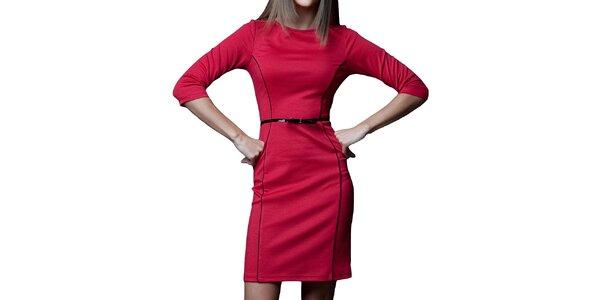 Dámske červené šaty s čiernymi prvkami Vera Fashion