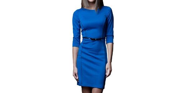 Dámske modré šaty s čiernymi prvkami Vera Fashion