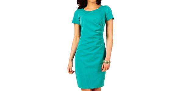 Dámske tyrkysové šaty s riasením na boku Vera Fashion