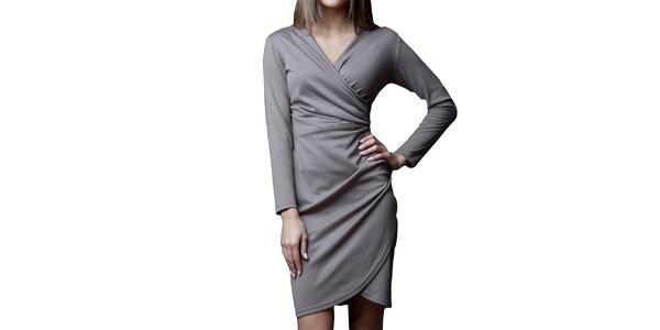 Dámske tmavo béžové šaty so zavinovacím efektom v medovom odtieni Vera Fashion