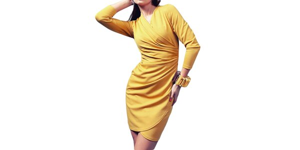 Dámske šaty so zavinovacím efektom v medovom odtieni Vera Fashion