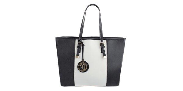 Dámska čierno-biela kabelka s príveskom Gessy