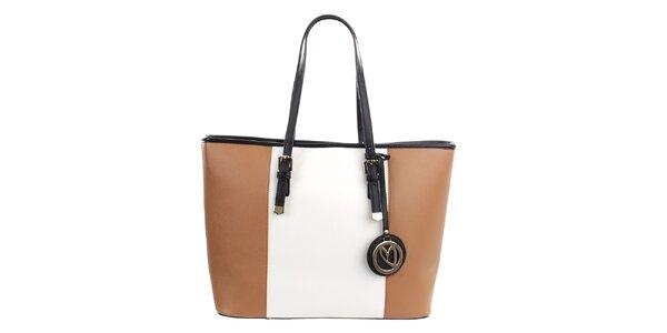Dámska béžovo-biela kabelka s príveskom Gessy