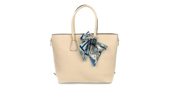 Dámska smotanová kabelka so šatkou Gessy