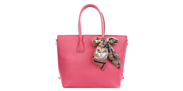 Dámska ružová kabelka so šatkou Gessy