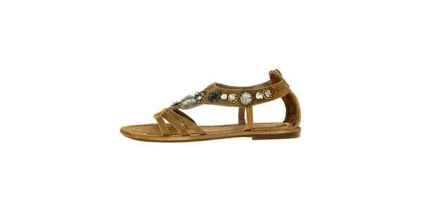 Dámske svetlo hnedé semišové sandálky Luna Llena