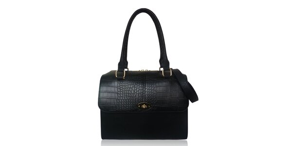 Dámska čierna kabelka s prepletanými pútkami Gessy