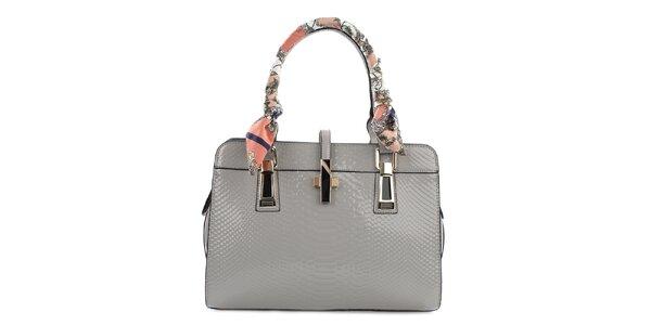Dámska šedá lesklá kabelka so šatkou na pútkach Gessy