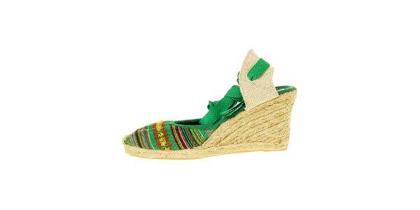 Dámske zelené sandálky Luna Llena s jutovým podpätkom