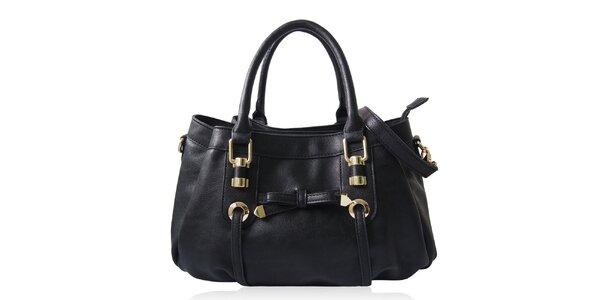 Dámska čierna kabelka s mašličkou Gessy