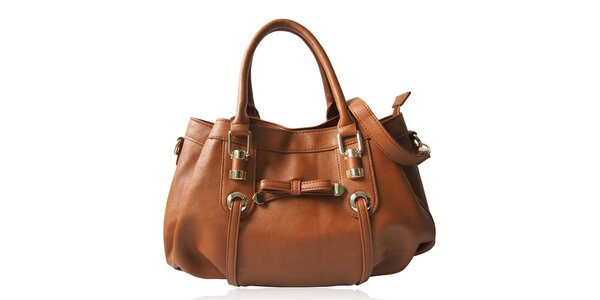 Dámska béžová kabelka s mašličkou Gessy