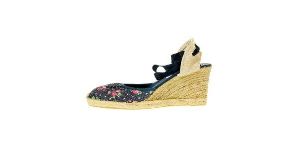 Dámske tmavo modré textilné sandálky Luna Llena s jutovým podpätkom
