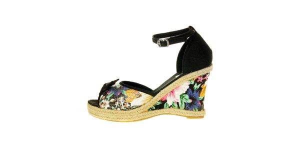 Dámske čierne pásikové topánky Luna Llena s jutovým podpätkom a farebnou…
