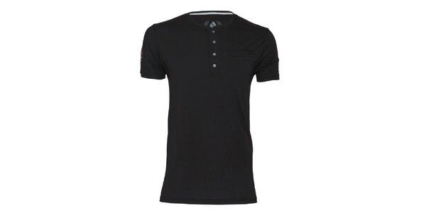 Pánske čierne tričko s gombíkmi Paul Stragas