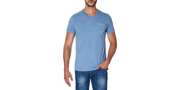 Pánske modré tričko s véčkovým výstrihom Paul Stragas